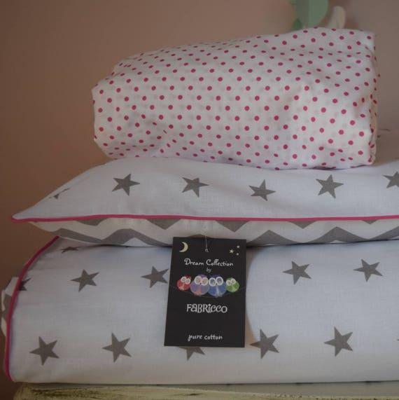 SALE  COTTON Cot Bed Duvet Cover Set /& Fitted Sheet Grey Chevron Elephants
