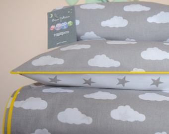 pure COTTON Cot Bed Duvet Cover Set & Fitted Sheet Grey Stars and Clouds with yellow piping nursery