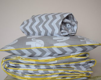 pure COTTON Cot Bed Duvet Cover Set & Fitted Sheet Grey Chevron Elephants with yellow piping nursery