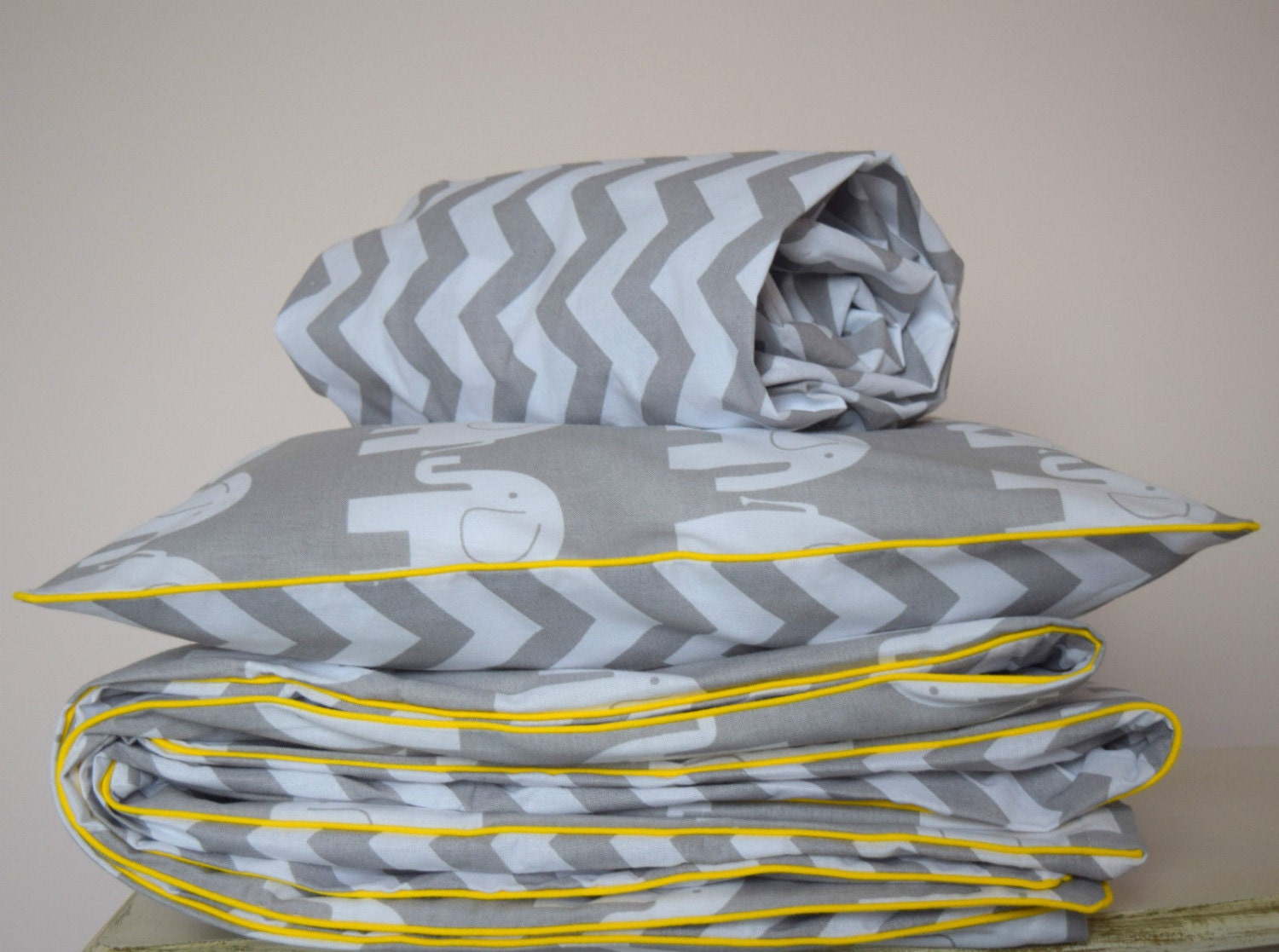 Cot Bed Duvet Cover Grey And Yellow