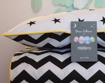 Monochrome  Bedding 100% COTTON Single Bed Duvet Cover Set Black & White Chevron Stars Yellow piping