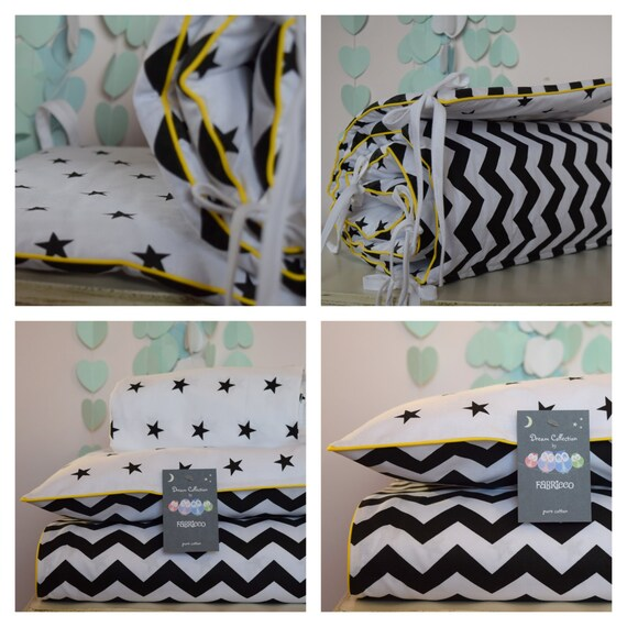 100/%COTTON Cot Bed Duvet Cover Set /& Fitted Sheet Grey Stars Stripes mint piping