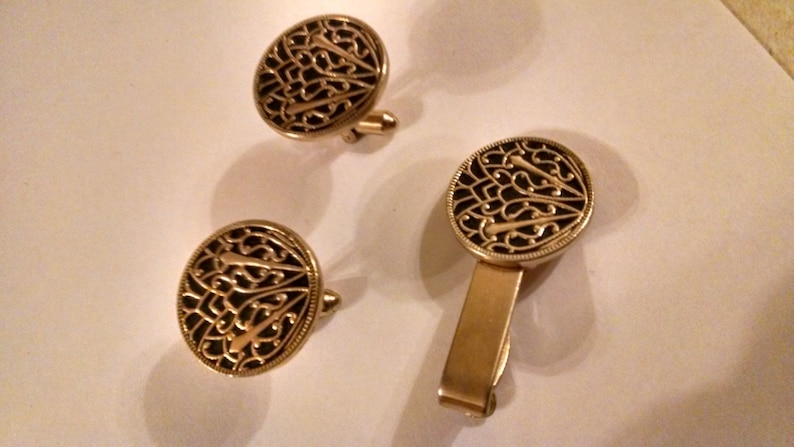 HICKOK Damascene Cuff Links /&Tie Clip,Gorgeous Mint Condition,Cuff LinkandTie Clips,Accessories,Men/'s Jewelry,Suit and Tie Accessories,Him