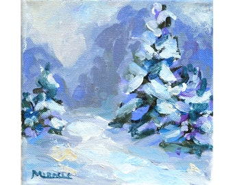 Evergreens in Morning, original painting, square, 6x6, snow, winter, pine trees, winter landscape, gift, holiday, nature, trees, woods