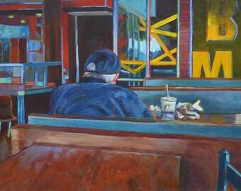 Alone II, original painting, Breaking Bread series, restaurant, veteran, old man, fast food, bright colors, solitary diner, impressionist