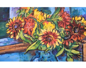 Sunflowers and Blue Vase, original, painting, impressionist, post impressionist, bright colors, floral, bouquet, Kit Miracle, van gogh