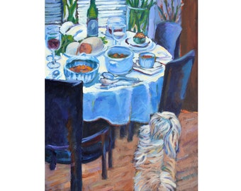 Anticipation, original painting, Breaking Bread series, food, Thanksgiving, formal meal, dinner table, china, dog, impressionist, wall art