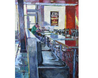 Alone, Breaking Bread series, original painting, eating, dining, restaurant, bright colors, impressionist, large, figurative, old man