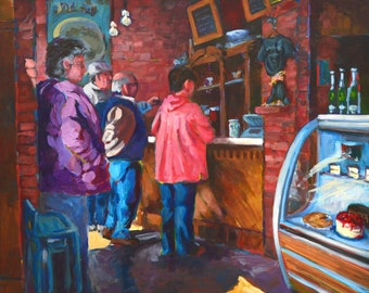Coffee Shop, Breaking Bread series, original painting, impressionist, coffee, cake, pastries, bright colors, people, food, casual dining