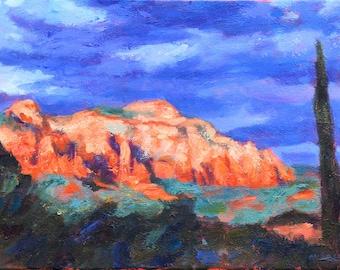 Sedona After the Storm, original painting, sunset, bright colors, landscape, impressionistic, red rocks, vortex, Arizona, Kit Miracle,