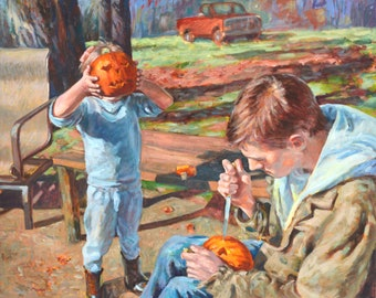 Pumpkin Head, original, oil, canvas, 29 x 36, impressionism, story, mystery, girl, pumpkin carving, man, fall, autumn