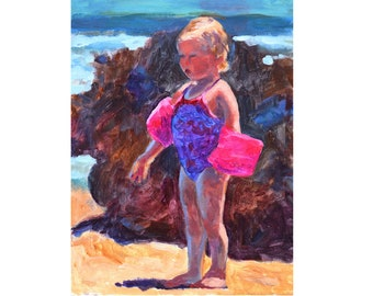 Beach Girl, original painting, acrylic, 16 x 12, FRAMED, intimate spaces series, WINGS, impressionist, colorful, beach scene, water, ocean
