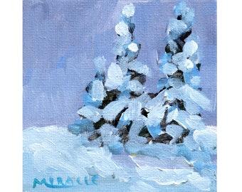 Tiny Trees, mini, original painting, 4x4, Christmas, holidays, gift, winter, pine trees, evergreens, stocking stuffer, Kit Miracle, cold