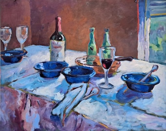 After the Dinner Party, Intimate Spaces, Breaking Bread series, original painting. large, impressionistic, dining room, gift, wedding