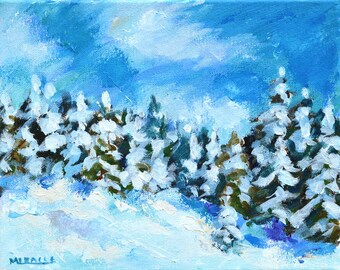 Winter Landscape, original painting, snow scene, pine trees, evergreens, Christmas, holiday, gift, 8x10, small, walk in the woods, Miracle
