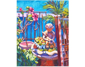 Garden Cherub, original painting, acrylic, canvas, impressionist, bright colors, garden, birdbath, angel, vertical, wall art, peaceful scene