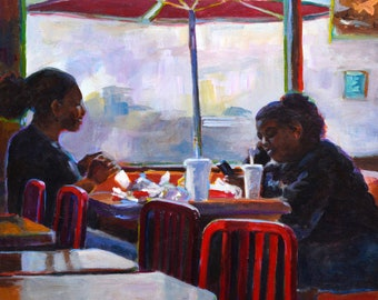 After School, original painting, breaking bread, fast food, black girls, impressionist, colorful, canvas, square, award winner, wall art