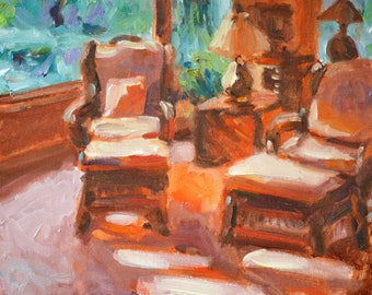 The Conversation, original, oil painting, 10 x 10, sunny room, bright colors, impressionist, Kit Miracle, gift