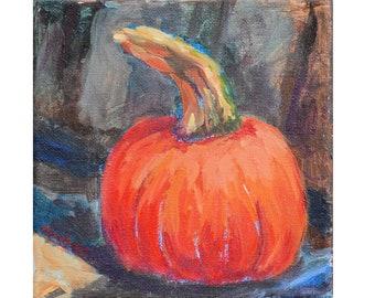 Little Sugar Baby, pumpkin, seasonal, original painting, mini, 6 x 6, fall, autumn, square, impressionist, pie, decorative, bright colors