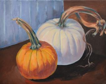 Pumpkin Friends, original, painting, fall, autumn, seasonal, decorating, yellow, white, pumpkin, acrylic, canvas, Kit Miracle