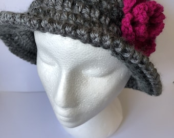 Crochet Brimmed Hat with flower