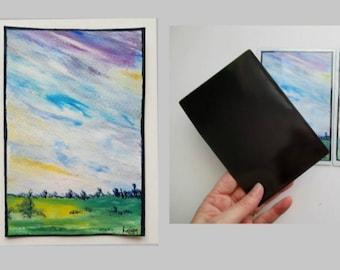 Magnet magnetic card hand painted original painting, fridge magnet