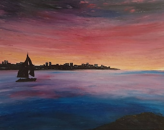 Large seascape painting, sailboat under a sunset, Sunset painting