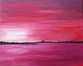 original acrylic painting pink sunset over the Savannah