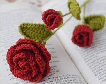 PATTERN ONLY Crochet Flower Pattern, Scarlet Rose Wedding Bouquets, Floral Arrangement, Party Decor, Romantic Gift, Bridal Bouquet