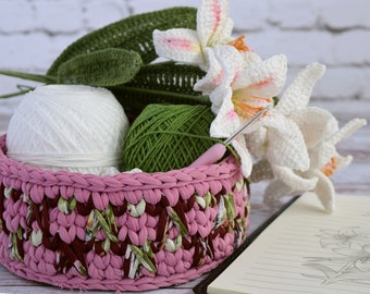 Crochet Basket Pattern and Tutorial DIY bathroom decor Basket Pattern/ Succulent Planter Pattern/ cosmetics skincare basket/ Crochet Pod