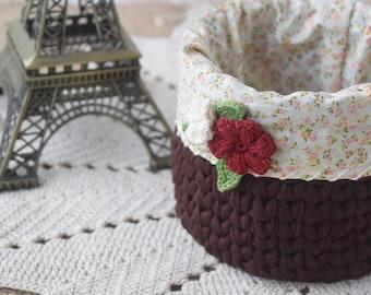 Crochet Pattern: Shabby Chic Crochet Basket, book storage, dorm decor, nursery decor, towel basket, bathroom storage, round cosmetics basket