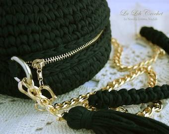 Crochet Macaron Bag Pattern/ T-shirt Yarn Project/ Sling Bag/ circle bag/ Purse/ Cross body Tutorial