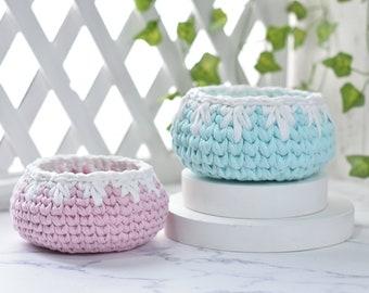 Crochet Organizer, Storage basket, Small Crochet Basket, Mini Basket, Bathroom Bedroom Basket, nursery decor, home decoration, dorm decor
