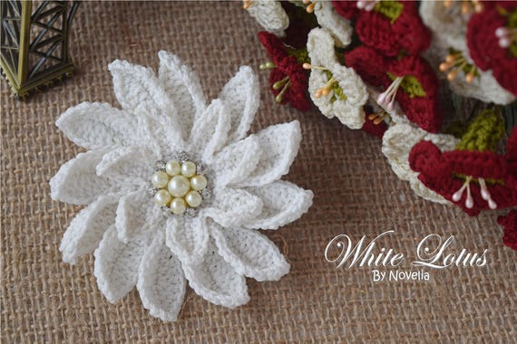 Pattern Crochet Flower White Lotus Wedding Accessories Hairpin Etsy
