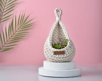 Handmade Tear Drop Crochet Basket Hanging Basket Room Storage Nursery Decor Home Decoration Bathroom Decor Succulent
