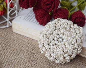 PATTERN Crochet Flower Handmade Wedding Brooch, boutonniere, hairpin, bag applique, shawl accessory, shimmery yarn fiber, Birdcage veil