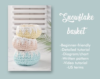 Crochet Basket Pattern and How-To: Snowflake basket for home decor nursery decoration cosmetic storage Basket spacer drawer crochet diagram