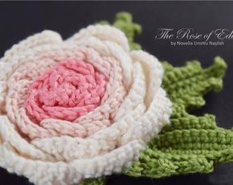 PATTERN Crochet Flower: the Rose of Eden, Climbing Rose, Pink shades, bag tag, Flower arrangement, party decor, wedding accessories, pdf