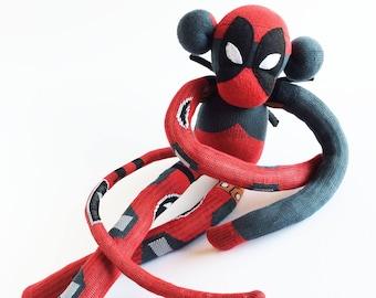 Deadpool Sock Monkey - Deadpool - Sock Monkey - Black and Red Sock Monkey - Red Sock Monkey - Deadpool Plush - Comic Sock Monkey - Deadpool