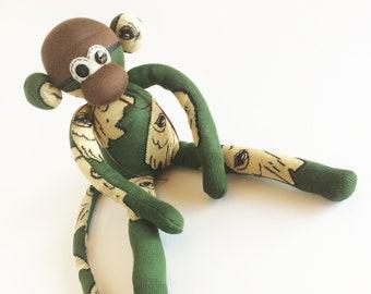 Brown Monkey Bears- Sock Monkey Parrot Green Plush Bear Lover Bear Brown Sock Monkey Brown Bear Plush Bears Sock Monkey Gift