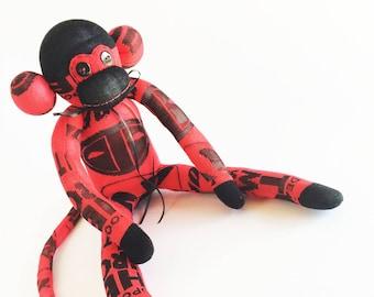 Deadpool Sock Monkey - Deadpool - Sock Monkey - Black and Red Sock Monkey - Red Sock Monkey - Deadpool Plush - Comic Sock Monkey