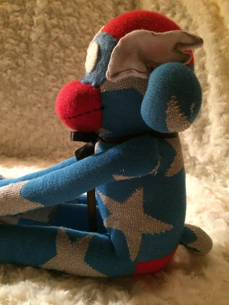 Star Shield White A Blue Sock Monkey-Captain America-USA-Handmade-Superhero-Comic-Book-Character-Monkey-Plush-Red Wings