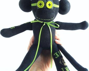 """Sock Monkey-Mini-Handmade-Football-Themed-""""Start The Game"""" design-Plush-Pocket Size-Handheld"""