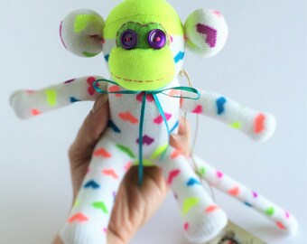 Sock Monkey-Mini-Handmade-Neon-Heart-Monkey-Plush-Hand Held-Pocket Size-Yellow, White, Pink, Purple, Orange, Green