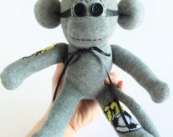 Sock Monkey-Mini-Handmade-Soccer-Goal-Themed-Monkey-Plush-Pocket Size-Handheld