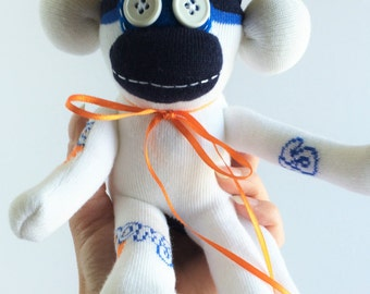 Sock Monkey-Mini-Handmade-Basketball-Themed-Monkey-Plush-Hand Held-Pocket Size-Navy, Orange, White, Teal
