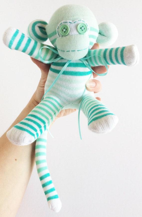 Seafoam Striped Mini Sock Monkey Sock Monkey Mini Sock Monkey Nursery Decor Light Green Striped Sock Monkey Green Striped Sock Monkey