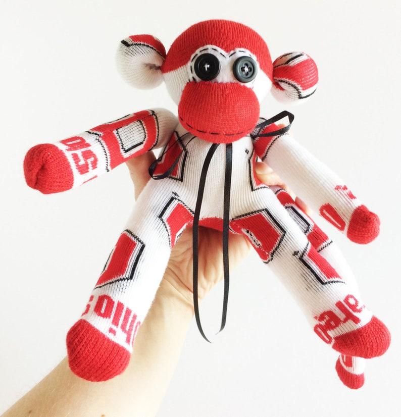 White Sock Monkey College Buckeyes Sock Monkey Mini Sock Monkey Ohio State University NCAA Ohio State Mini Sock Monkey Red