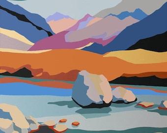 Fairy Pools Isle of Skye signed print of acrylic painting