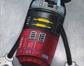 M2M2, Disney, Mickey Mouse, R2D2, Star Wars, Red, Yellow, Black, Gray, Colored Pencil, Parody, Sci-fi, Robot, Mouse, Unframed
